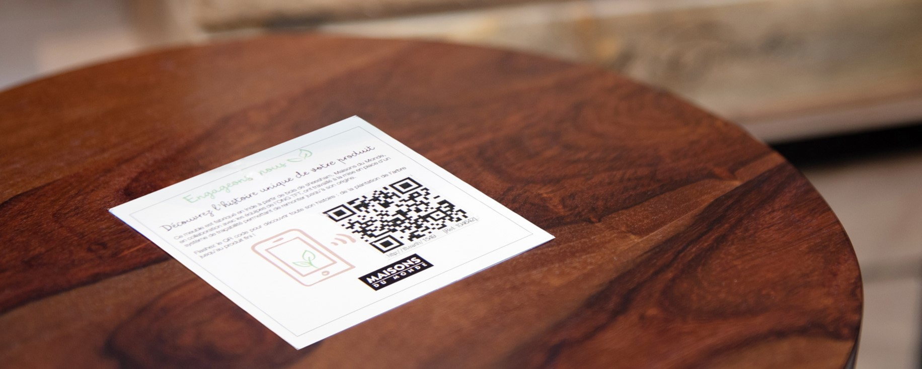 Wood traced furniture with QR Code